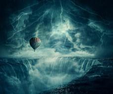 дождь, молния, воздушный шар, гроза
