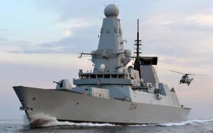 sea king helicopter, HMS Diamond, эсминец, эскадренный миноносец, type 45 destroyer