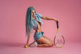 tennis, ball, blue hair, Георгий Дьяков, look