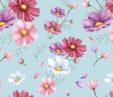 pink, background, pattern, рисунок, цветочный, colorful, цветы, фон, орнамент, cosmos, floral, flowers