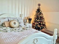 праздничные, Ёлки, спальня, елка, постель