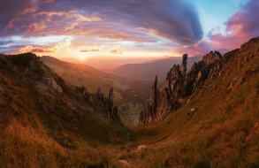 rocks, mountains, desert, sunset