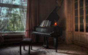 свеча, ноты, комната, рояль, пианино, окно