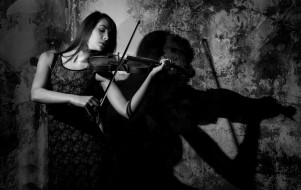девушка, стена, скрипка, тень