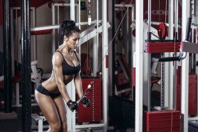 мотивация, занятие, девушка, тренажер, спортзал