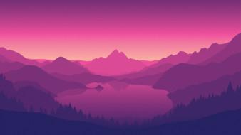 Firewatch, Campo Santo, Фиолетовый, Пейзаж, Холмы, Вид, Лес, Озеро, Горы