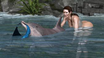море, дельфин, фон, взгляд, девушка
