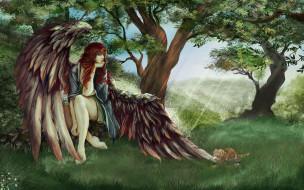 лес, крылья, котенок, фон, девушка