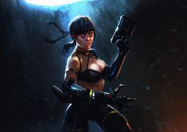 девушка, фон, оружие, взгляд
