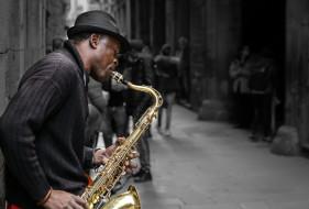 саксофон, мужчина, шляпа, музыкант, улица