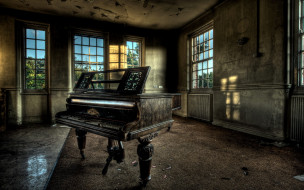 помещение, окно, пианино, рояль