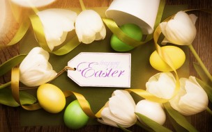 Easter, Happy, tender, eggs, decoration, spring, tulips, wood, тюльпаны, Пасха