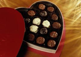 конфеты, сердечко, коробка