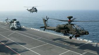 авианосец, палуба, военные вертолеты, авиация