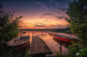 закат, озеро, Англия, лодки, England, Северный Йоркшир, Йоркширские долины, Yorkshire Dales, North Yorkshire, Озеро Эмбсей, Embsay Reservoir
