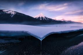 горы, снег, зима, небо, природа, лёд