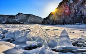 солнце, озеро, скалы, горы, лед, снег, небо