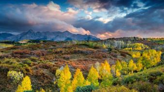 небо, тучи, горы, осень, деревья, кусты