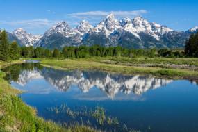 отражение, горы, деревья, река, Вайоминг, Wyoming, Grand Teton National Park, Скалистые горы, Река Снейк, Snake River, Rocky Mountains, Национальный парк Гранд-Титон