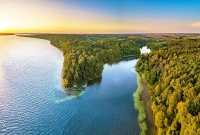 лес, озеро, панорама, Литва, Lithuania, Kaunas Reservoir, Kaunas County, Mergakalnis, Каунасское водохранилище