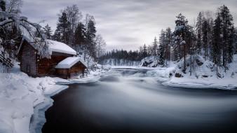 река, дом, зима