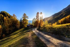 осень, дорога, Италия, горы