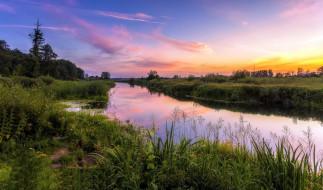 закат, лето, река