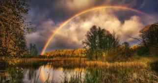 Осень, Озеро, Радуга