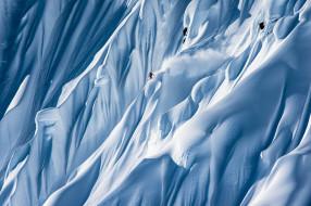 лыжник, спуск, горы, снег, зима