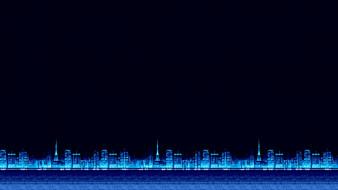 Фон, Synthwave, Синти, Retrowave, Synth, bit, Пиксели, 8 bit, 8бит, Город, Синий, Electronic, 8bit, Synth pop, 8 Бит