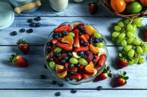 черника, виноград, клубника, апельсин