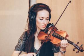 музыка, -другое, скрипка, наушники, девушка