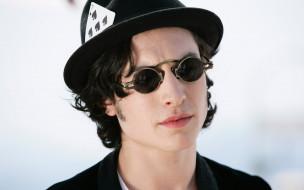 мужчины, ezra miller, очки, карта, шляпа