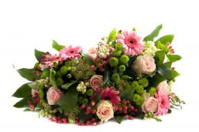 герберы, розы, хризантемы