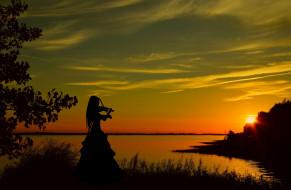 музыка, -другое, девушка, скрипка, силуэт, водоем, закат, природа