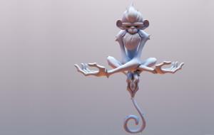 Frostfire Monkey, fabio wasques, поза, арт, обезьянка