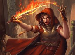 огонь, магия, фэнтези, оружие, девушка, взгляд, перчатки, капюшон, арт