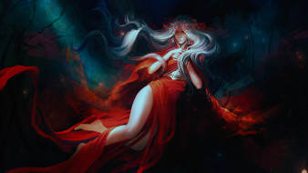 красное платье, by exellero, фэнтези, девушка
