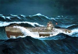 корабли, рисованные, u-boot, type, viic, erich, topp, wwii, german, submarine, волны, шторм, u-552