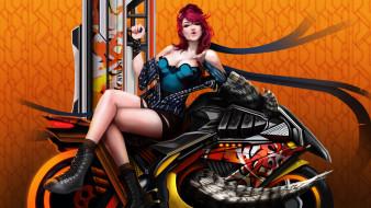 рисованное, люди, поцелуй, мотоцикл, взгляд, девушка, фон