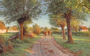 Peder Mоrk Mоnsted, Петер Мёрк Мёнстед, Летний вечер, 1919, Danish realist painter, датский живописец, Summer evening