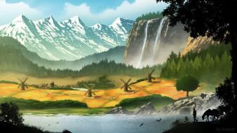 долина, мельницы, Village commission, горы, водопад