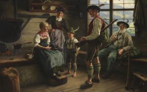 Emil Rau, Эмиль Рау, Отдых охотника на пастбище, German painter, 1919, немецкий живописец, Rast des Jаgers auf der Alm