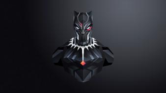 черный фон, костюм, арт, маска, Чёрная Пантера, Black Panther, MARVEL, комикс