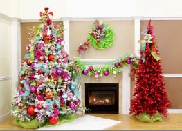 праздничные, Ёлки, гирлянды, елки, камин