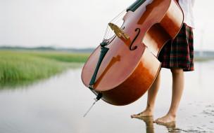 природа, ноги, растения, виолончель, вода, девушка