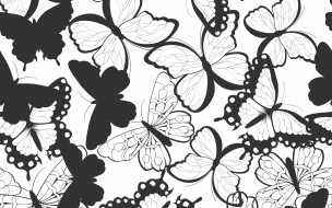 векторная графика, животные , animals, черно-белый, бабочки, узор, текстура