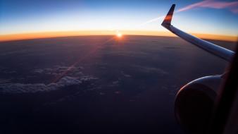 крыло, облака, полет, небо, самолет