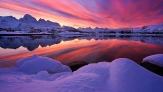 небо, горы, отражение, зима, зарево, деревья, снег, озеро