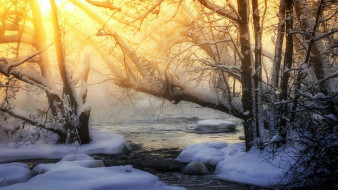 Зима, закат
